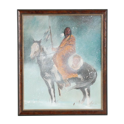 Oil Painting of Native American Figure on Horseback