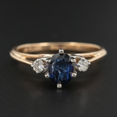 14K Yellow Gold Sapphire and Diamond Ring with White Gold Accent
