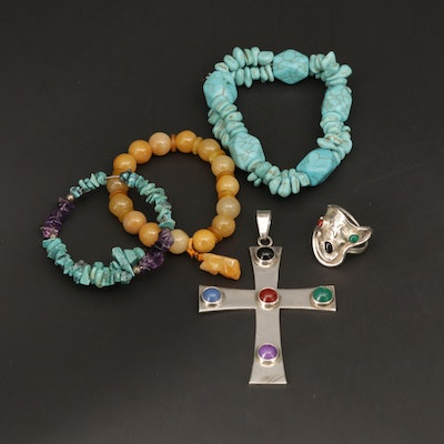 Sterling Cross Pendant, Bracelets and Star Ring With Amethyst and Howlite
