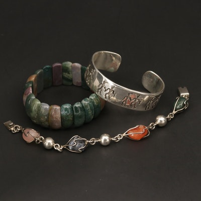 Sterling Silver Bracelet Selection with Bloodstone, Carnelian and Rose Quartz
