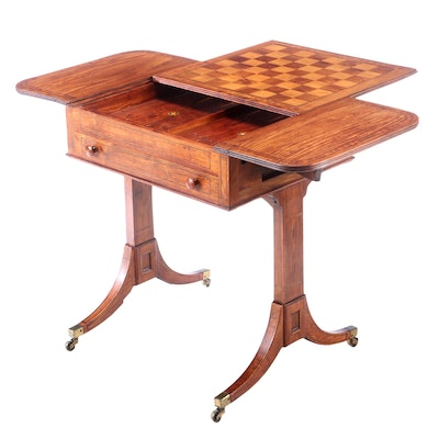 Anglo-Indian Padouk and Parquetry Drop-Leaf Games Table, Early 19th Century