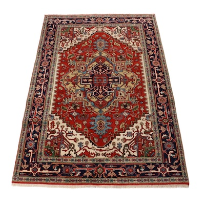 5'11 x 8'10 Hand-Knotted Indo-Persian Heriz Serapi Rug, 2010s