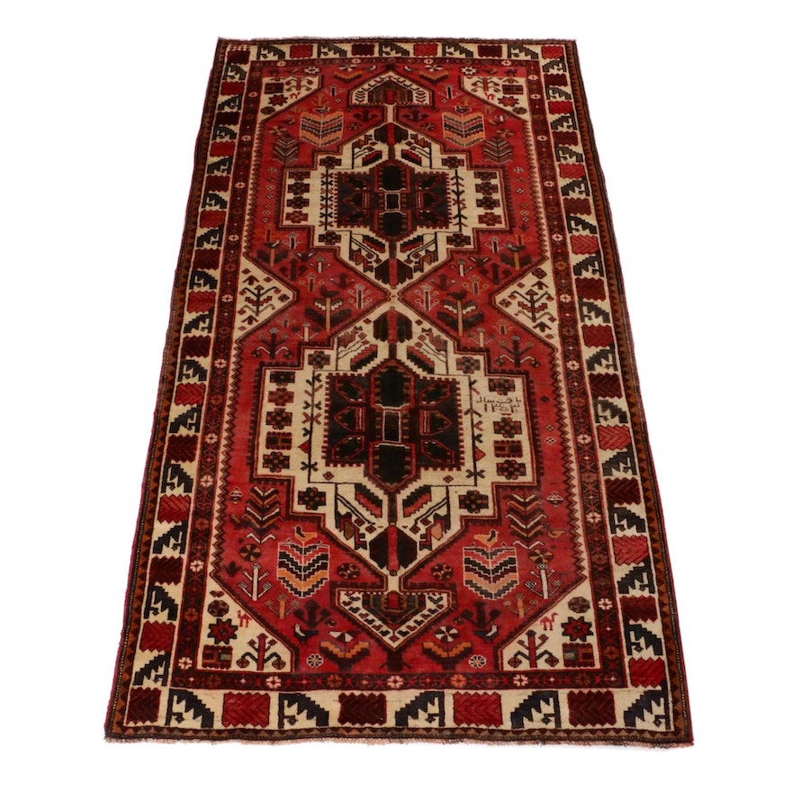 5'4 x 10'1 Hand-Knotted Persian Qashqai Shiraz Pictorial Rug, 1980s