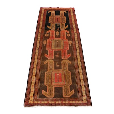4'0 x 11'1 Hand-Knotted Northwest Persian Pictorial Wide Runner, 1960s