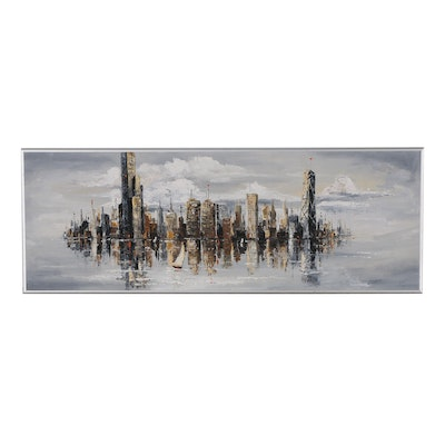 Abstract Oil Painting of City Skyline, 20th Century