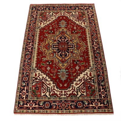 5'0 x 8'3 Hand-Knotted Indo-Persian Heriz Serapi Rug, 2010s