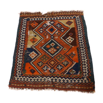 4'10 x 5'9 Handwoven Persian Afshar Kilim Rug, 1890s