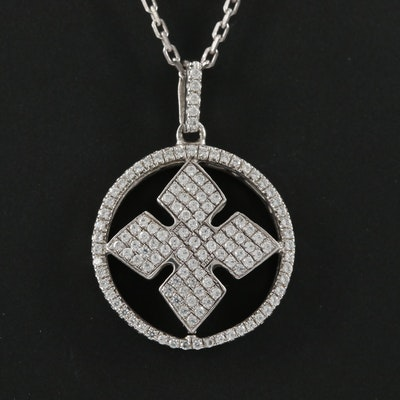 Sterling Silver Cubic Zirconia Cross Pendant on Cable Link Chain