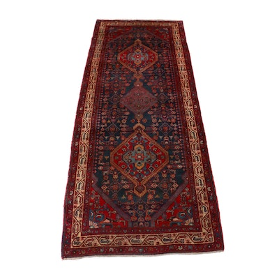 4'7 x 10'10 Hand-Knotted Persian Nahauand Wide Runner, 1950s