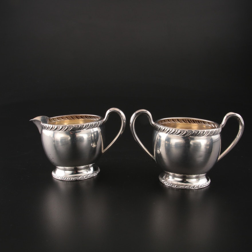 Fred M. Hirsch Co. Sterling Silver Creamer and Open Sugar Bowl, 1920–1945