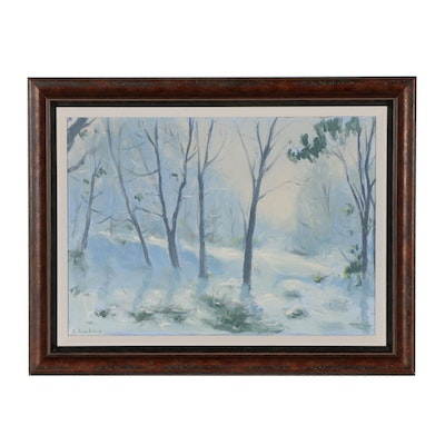 Steve Jenkins Oil Painting of Impressionistic Winter Landscape
