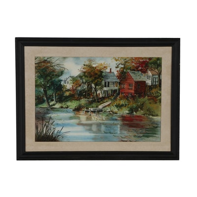 Watercolor Painting of River Scene
