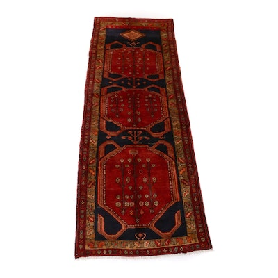 3'7 x 9'7 Hand-Knotted Persian Heriz Wide Runner, 1960s
