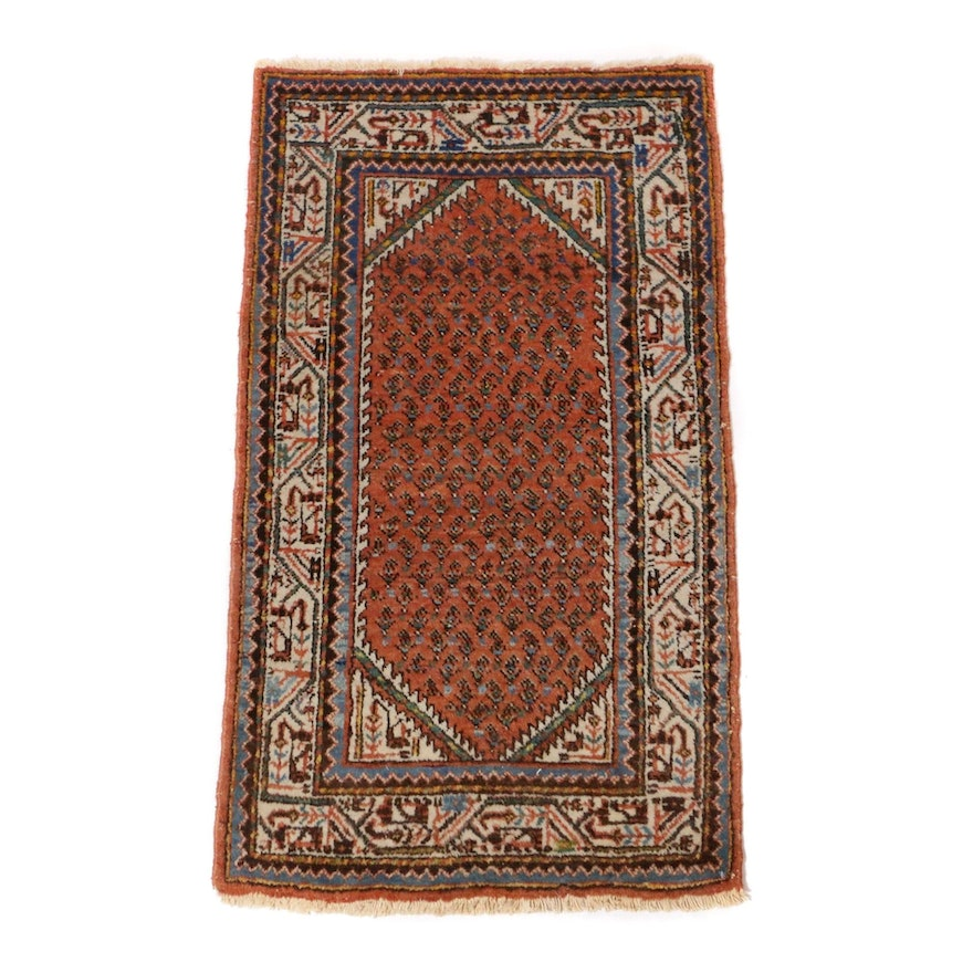 2'4 x 4'2 Hand-Knotted Persian Mir Sarouk Rug, 1970s