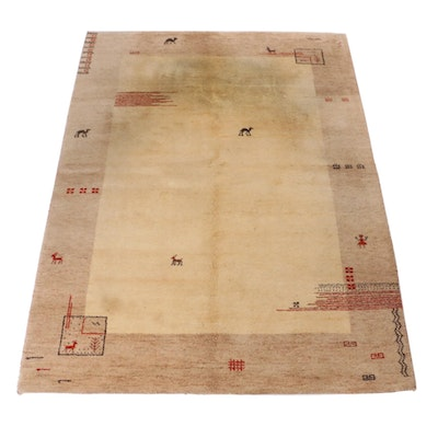 5'9 x 7'9 Hand-Knotted Persian Gabbeh Pictorial Rug, 1990s