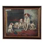 Oil Painting on Canvas of Three Dogs