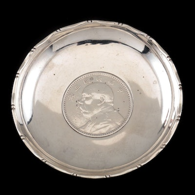 Chinese Export Sterling Dish with Yuan Shih-kai Dollar Inset, Early 20th Century