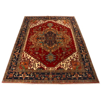 9' x 12' Hand-Knotted Indo-Persian Heriz Serapi Area Rug, 2010s