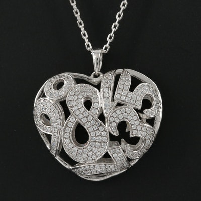 Sterling Silver Cubic Zirconia Numerical Heart Pendant Necklace
