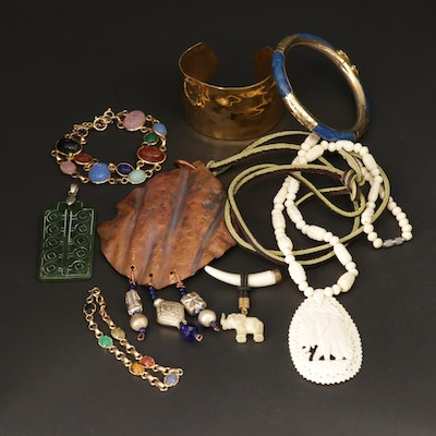 Assorted Necklaces Bracelets, Brooch and Pendant With Bone and Tiger's Eye