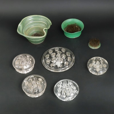 Glass, Metal and Pottery Flower Frogs, Mid-20th Century