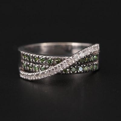 14K White Gold Diamond Ring with Green Diamonds