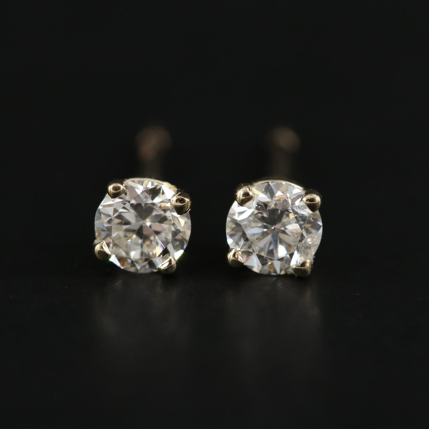 14K Yellow Gold 0.31 CTW Diamond Stud Earrings