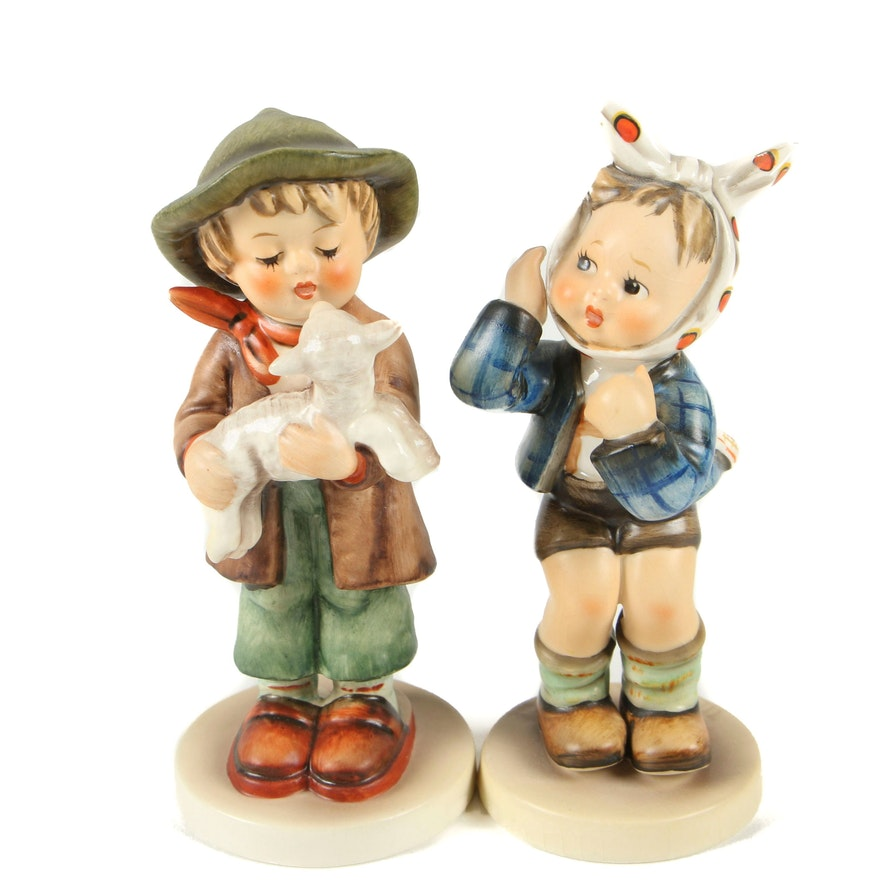 "Hummel ""Boy with Toothache"" and ""Lost Sheep"" Porcelain Figurines, 1970s"