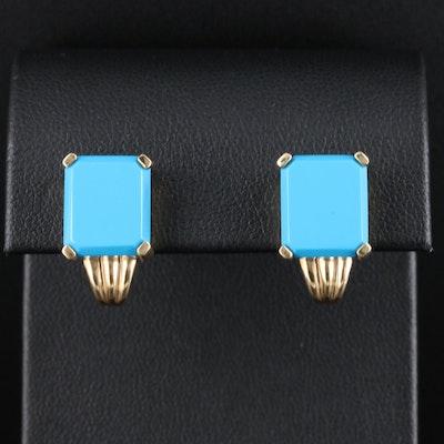 14K Yellow Gold Turquoise Drop Earrings