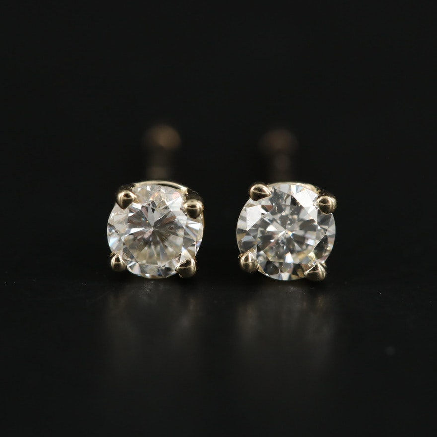 14K Yellow Gold 0.28 CTW Diamond Stud Earrings
