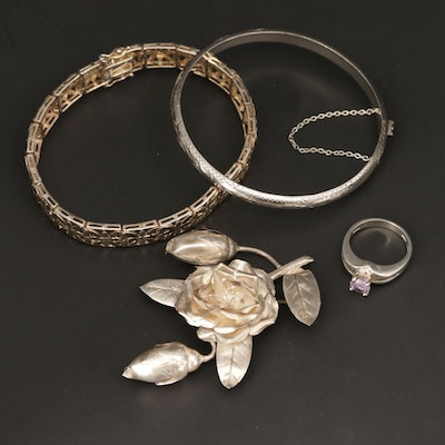 Sterling Silver Hinged and Panel Bracelets, Floral Brooch and Amethyst Ring