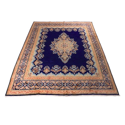 9'10 x 12'10 Hand-Knotted Persian Kerman Room Size Rug, 1970s