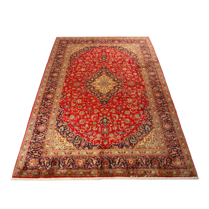 8'1 x 12' Hand-Knotted Persian Kashan Rug, 1970s