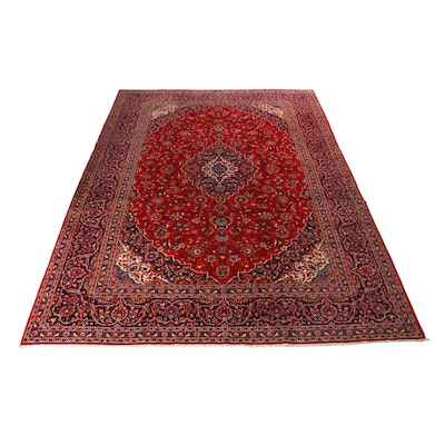 9'11 x 13'3 Hand-Knotted Persian Kashan Rug, 1970s