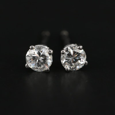 14K White Gold 0.33 CTW Diamond Stud Earrings