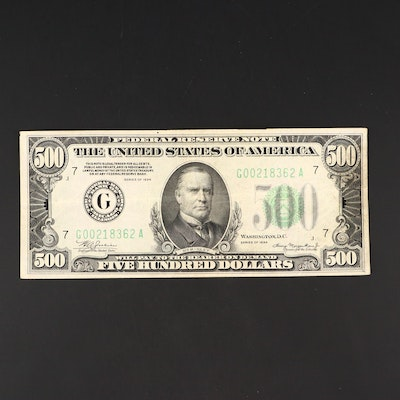Series of 1934 $500 Federal Reserve Note with Green Seal