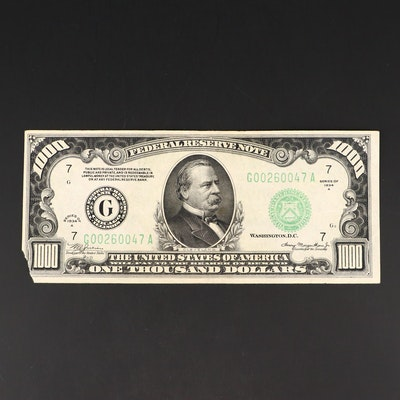 Series of 1934 A $1000 Federal Reserve Note