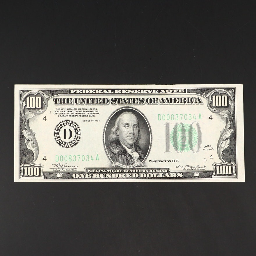 Series of 1934 $100 Federal Reserve Note with Green Seal