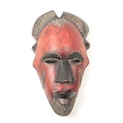 African Wooden Tikar Style Mask