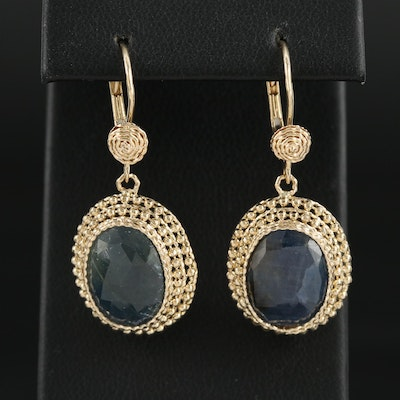 14K Yellow Gold Corundum Dangle Earrings