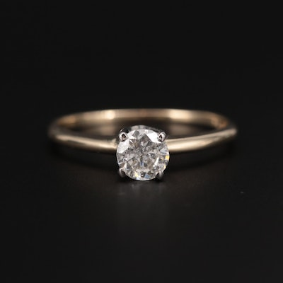 14K Yellow Gold 0.49 CT Diamond Solitaire Ring