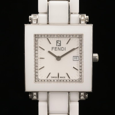 Fendi Quadro Diamonds and White Ceramic Quartz Wristwatch