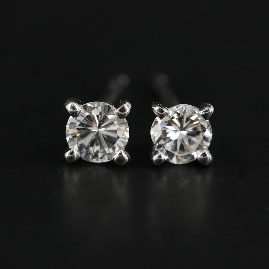 14K White Gold 0.38 CTW Diamond Stud Earrings