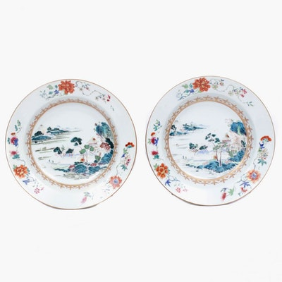 East Asian Hand-Painted Porcelain Bowls
