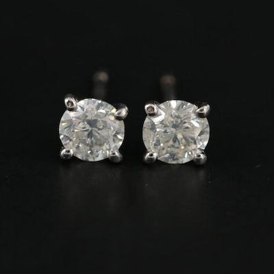 14K White Gold 0.95 CTW Diamond Stud Earrings