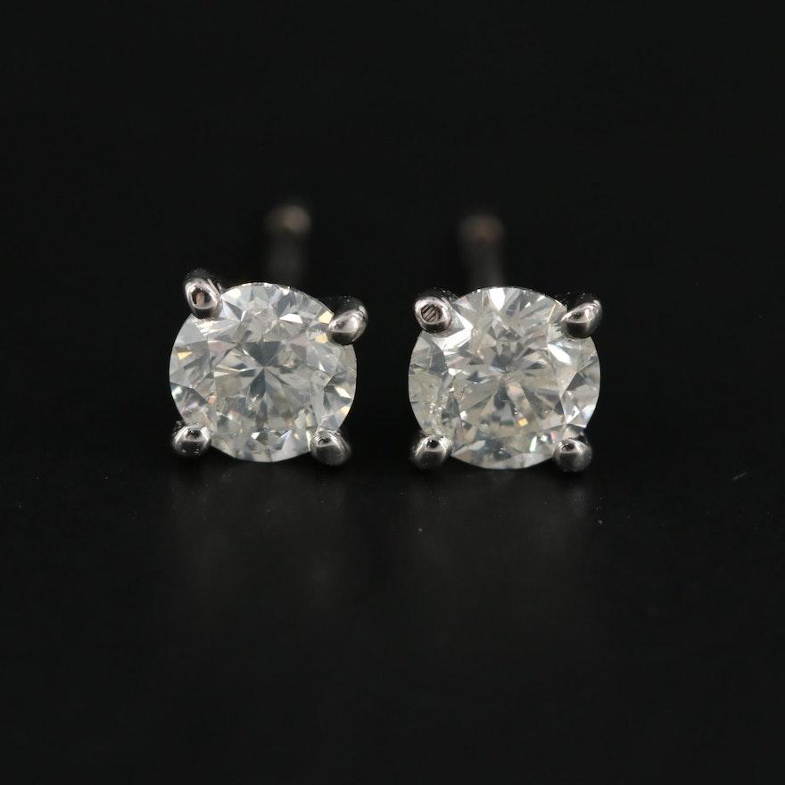 14K White Gold 0.95 CTW Diamond Stud Earrings