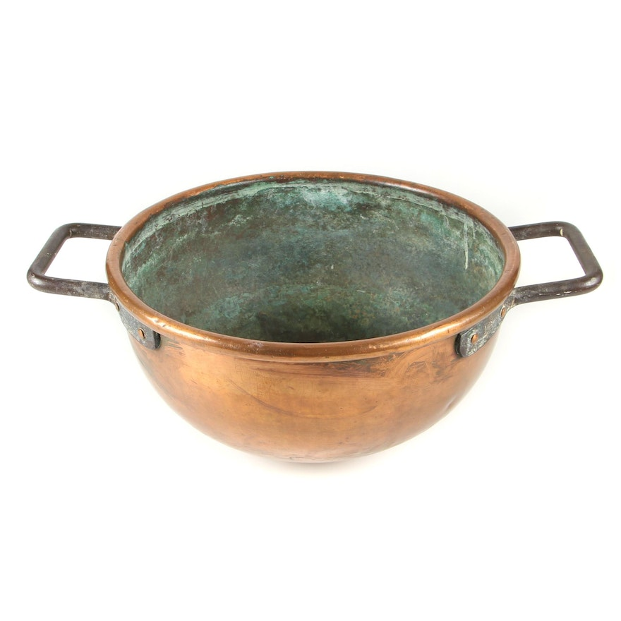 Antique # 16 Dovetail Copper Cauldron with Riveted Iron Handles