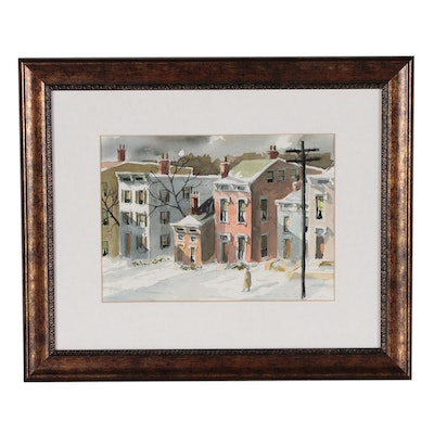 """Charles J. Donnelly Watercolor Painting of Street Scene """"Corryville"""""""