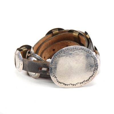 Harvey Bear Track Sterling Silver Concho and Black Leather Belt, Vintage