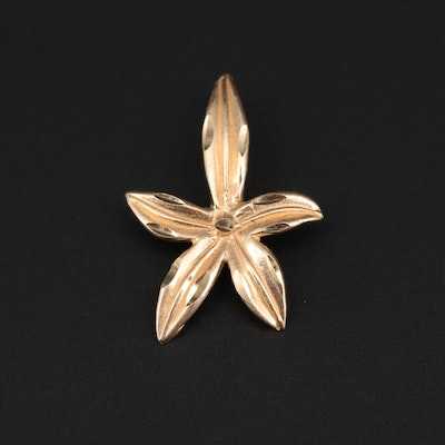 14K Yellow Gold Floral Pendant